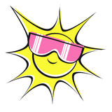 Sun and pink sun glasses. Cool sun wearing pink sun glasses Stock Images