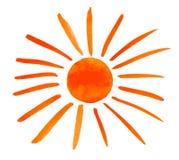 Sun pintou isolado no fundo branco ilustração royalty free