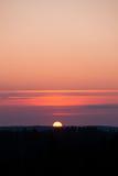 Sun plaçant au-dessus de la forêt Photo libre de droits