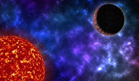 Sun and planet in deep space Stock Photography