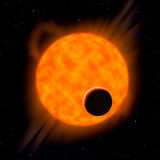Sun with planet in front Royalty Free Stock Image
