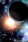 Sun planet and starfield background Stock Photo