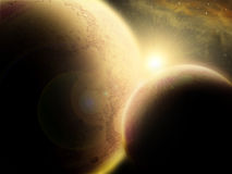 Sun, planet and supernova Royalty Free Stock Images