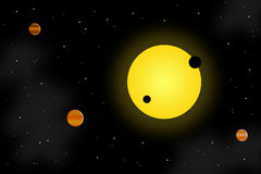 Sun and planets. Bright sun with planets revolving around it with stars as background Stock Photo