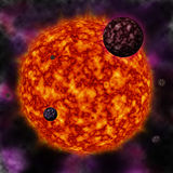 Star and planets. Sun and planets in black starry background Stock Images
