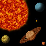 Solar system. Sun and planets in black starry background Stock Images
