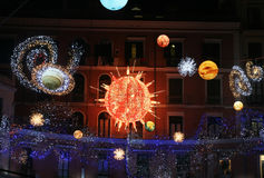 Sun and planets. Sun, planets and galaxy at salerno in italy for christmas decoration Royalty Free Stock Photo