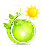 Sun and plant illustration Royalty Free Stock Images