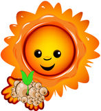 Sun with a plantlet. Original file was created in Adobe Illustrator Royalty Free Stock Photography