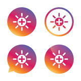 Sun plus sign icon. Heat symbol. Brightness. Sun plus sign icon. Heat symbol. Brightness button. Gradient buttons with flat icon. Speech bubble sign. Vector Stock Photo