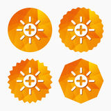 Sun plus sign icon. Heat symbol. Brightness. Sun plus sign icon. Heat symbol. Brightness button. Triangular low poly buttons with flat icon. Vector Stock Photography