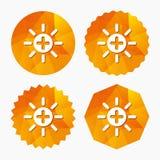 Sun plus sign icon. Heat symbol. Brightness. Stock Photography
