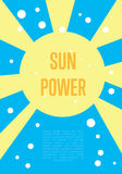 Sun power banner. Eco energy concept Stock Image