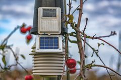 Sun powered meteorology station on the apple plants.  stock images
