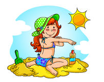 Sun protection. Girl at the beach applying sunscreen on her skin Royalty Free Stock Images