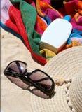 Sun protection. Items for the beach Stock Photo