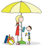 Sun protection. Illustration of mother applying sunscreen to her son vector illustration