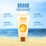 Sun protection cosmetic product design Royalty Free Stock Images