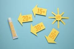 Sun protection factor SPF lotion. Sunscreen cream, solar block stock photo