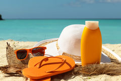 Sun protection items Stock Image