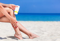 Sun protection for the legs Stock Images