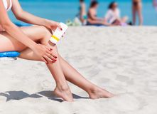 Sun protection for the legs Royalty Free Stock Photos