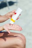 Sun protection for the legs Royalty Free Stock Photo