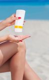 Sun protection for the legs Stock Photos