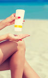 Sun protection for the legs Stock Photography