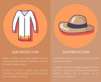 Sun Protection Set of Posters with Inscriptions vector illustration