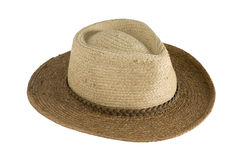 Sun protection - straw hat. Straw hat, cowboy style, in two colors for sun protection, isolated, clipping path included Royalty Free Stock Image