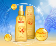 Sun protection, sunscreen and sunbath cosmetic products design face and body lotion with UV protection on palm beach. Summer background. Sunblock ads template Stock Photography