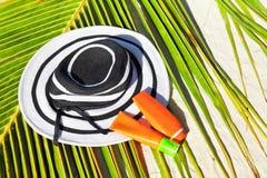 Sun protection for tropical vacation Stock Photos