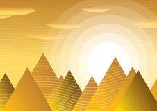 Sun and Pyramid. The abstract picture of sun between pyramids Stock Photo