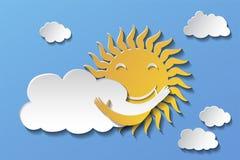 Sun que abraza la nube Ilustración del vector estilo de papel del arte ilustración del vector