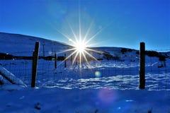 Sun que ajusta-se em um dia de invernos nevado fotografia de stock