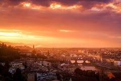 Sun que ajusta-se sobre Florença, Itália Fotografia de Stock Royalty Free