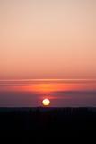 Sun que ajusta-se sobre a floresta Fotografia de Stock Royalty Free