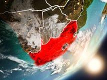 Sun que aumenta acima de África do Sul do espaço Fotografia de Stock