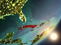 Sun que aumenta acima de Cuba do espaço ilustração stock