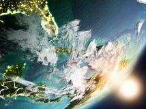 Sun que aumenta acima de Jamaica do espaço Fotografia de Stock Royalty Free