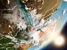 Sun que aumenta acima de Jibuti do espaço Imagem de Stock Royalty Free