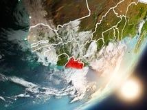 Sun que aumenta acima de Libéria do espaço Fotos de Stock