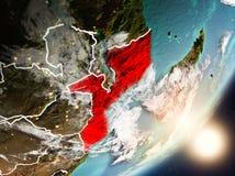 Sun que aumenta acima de Moçambique do espaço Imagem de Stock