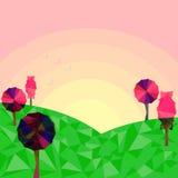 Sun que aumenta ajustando a cena colorida da paisagem da natureza das árvores dos campos verdes Fotografia de Stock