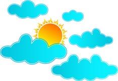 Sun que aumenta nas nuvens ilustração royalty free