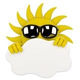 Sun que esconde atrás de uma nuvem ilustração stock