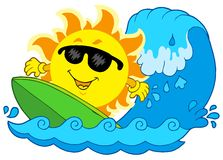 Sun que practica surf Imagen de archivo
