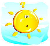Sun (questioning). Illustration of a cute questioning sun Stock Photo