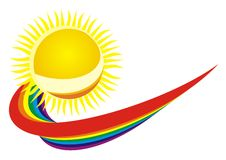 Sun and raibow Stock Photos